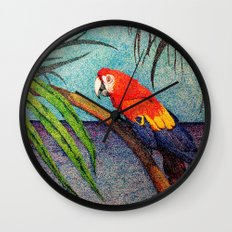 POINTILLISM PARROT Wall Clock