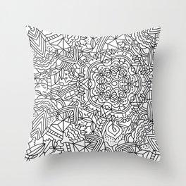 Detailed Mandala Frenzy Black and White Throw Pillow