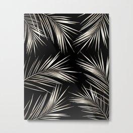 White Gold Palm Leaves on Black Metal Print