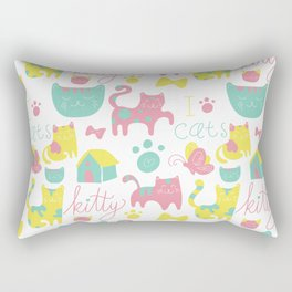 Abstract lime green pink cute cats pattern modern typography Rectangular Pillow