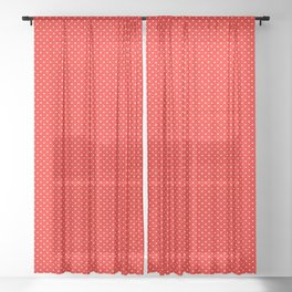 Red with white polka dots Sheer Curtain