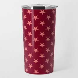 Coral Pink on Burgundy Red Stars Travel Mug