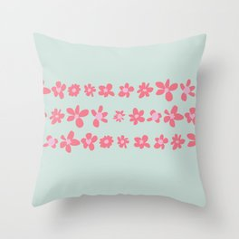 Daisy Chain in Petal Pink and Mint Green Throw Pillow