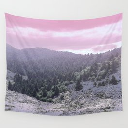 Pink Sunset on Mountains Wall Tapestry