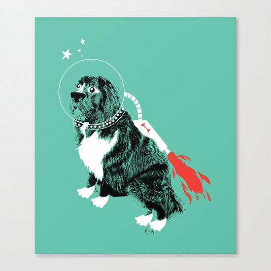 A Flying Dog In Outer Space Canvas Print