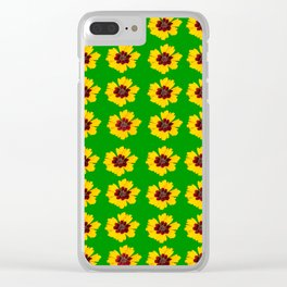 pattern yellow daisy on green background Clear iPhone Case