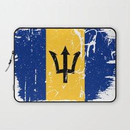 Distressed Barbados Flag Graffiti Laptop Sleeve