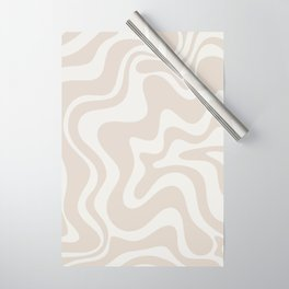 Liquid Swirl Contemporary Abstract Pattern in Mushroom Cream Wrapping Paper