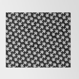 Dumbbellicious inverted / Black and white dumbbell pattern Throw Blanket