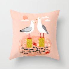 Seagulls - Bird Art, Coastal Nautical Summer Bird Print by Andrea Lauren Throw Pillow