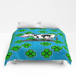 fortune leaves and cows Comforters