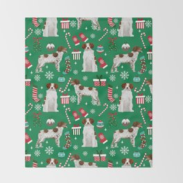 Brittany Spaniel christmas pattern dog breed presents stockings candy canes Throw Blanket