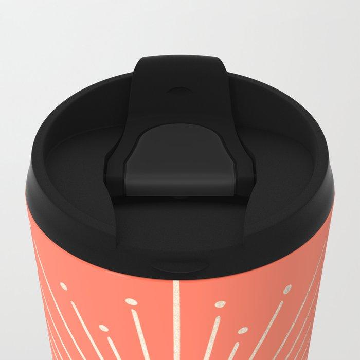 Simply Sunburst in Deep Coral Metal Travel Mug