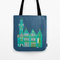 architecture Tote Bags featuring Architecture by bluebutton studio