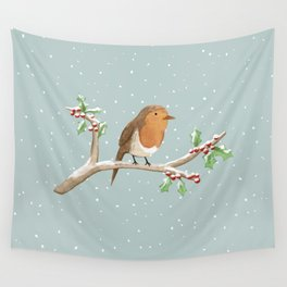 Robin on Branch Wall Tapestry