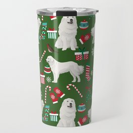 Great Pyrenees christmas festive dog gifts for the dog lover pet friendly pet portraits Travel Mug