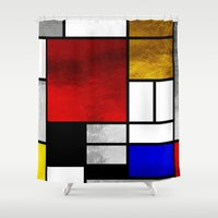mondrian Shower Curtains featuring Luxury Mondrian by Dizzy Moments