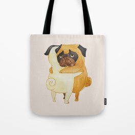 Pug Hugs Watercolor Tote Bag
