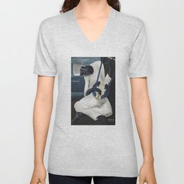 The old Tambour Player Unisex V-Neck