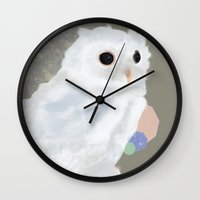 loish Wall Clocks featuring White Owl and Geometry by Visual Condyle