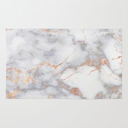 Gray Marble Rosegold  Glitter Pink Metallic Foil Style Rug