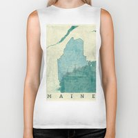 maine Biker Tanks featuring Maine State Map Blue Vintage by City Art Posters