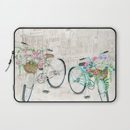 Vintage Bicycles With a City Background Laptop Sleeve