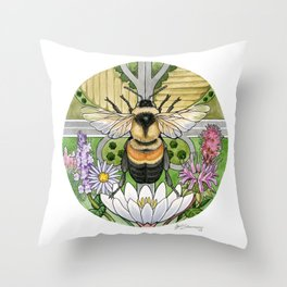 On the Brink: Rusty Patched Bumblebee Throw Pillow