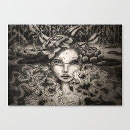 Lake Spirit pencil and charcoal Canvas Print