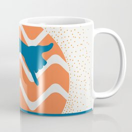 Hang Loose Wave // Sun Surfer Shaka Beach Retro Graphic Design Horizontal Daze Waves Coffee Mug