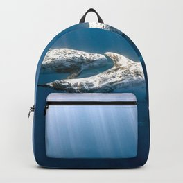Amazing Gorgeous Beluga Whale Family Under Water Surface Sun Rays Backpack