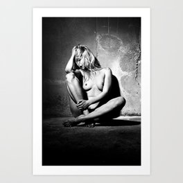 Lonely Beauty - Nude woman alone in a dungeon or cellar Art Print