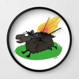 Flaming Sheep (Black) Wall Clock