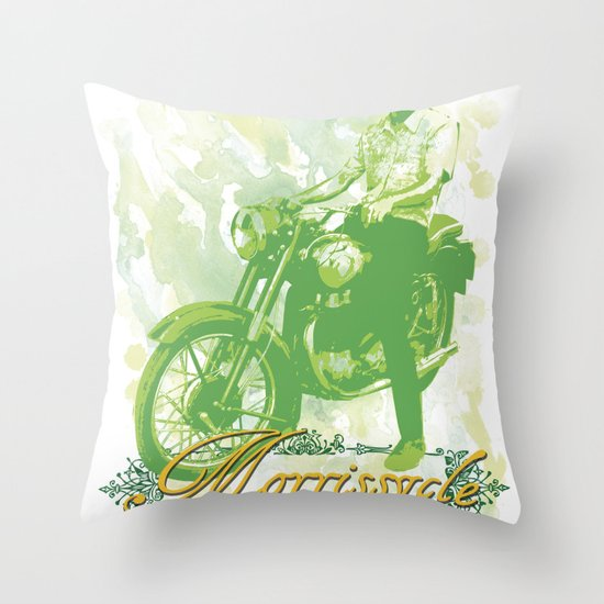 Morrissycle Throw Pillow