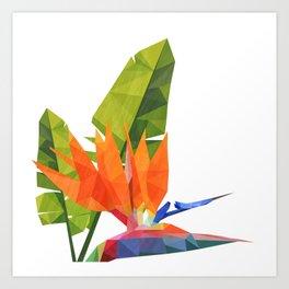 Geometric bird of paradise Art Print