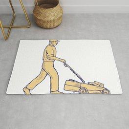 Gardener Mowing Lawnmower Drawing Rug