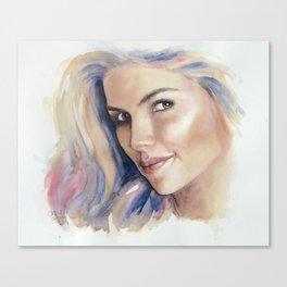 Nadina, watercolour portrait Canvas Print