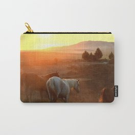 Sunset on Horses Photography Print Carry-All Pouch