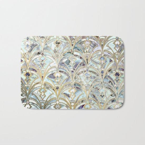 Pale Bright Mint and Sage Art Deco Marbling Bath Mat