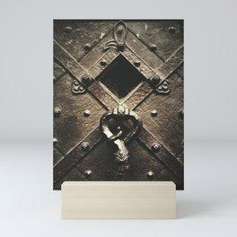 door on prague castle with snake door-knock Mini Art Print
