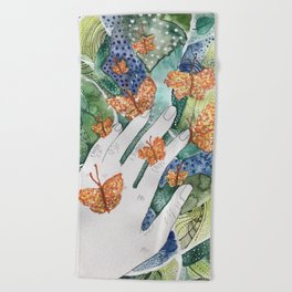 abstract whimsical nature art Beach Towel
