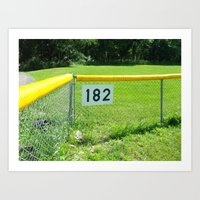 blink 182 Art Prints featuring blink 182's baseball field by lou gooding