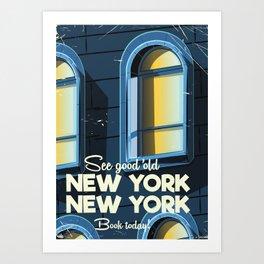 New York Vintage cartoon travel poster Art Print