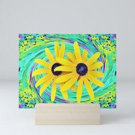 Yellow Rudbeckia Flowers on a Turquoise Garden Swirl Mini Art Print