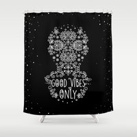 good vibes only Shower Curtains featuring Good Vibes Only by Anita Molnár Anita