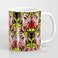 popart Mugs featuring PopArt Girl by BURPdesigns