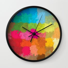 Colorful Rainbow Squares Geometric Shapes Wall Clock