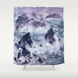 Claude Monet Storm At Belle Ile Shower Curtain