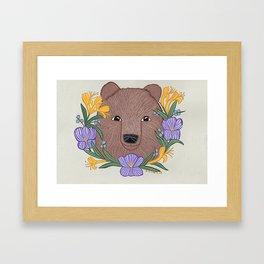 Brown bear floral portrait- A. C. Clark Art Framed Art Print