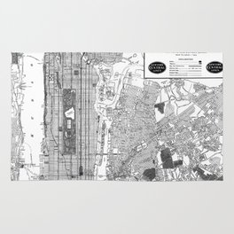 Vintage Map of New York City (1918) BW Rug